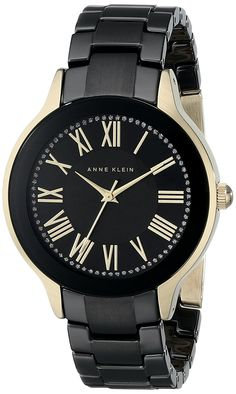Anne Klein Women's AK/1948BKGB Gold-Tone and Black Watch with Ceramic Bracelet ** You can get more details by clicking on the image.