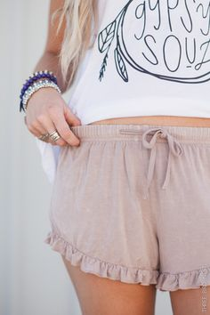 Ruffled Latte Lounge Shorts by Three Bird Nest | Women's Boho Clothing Boutique