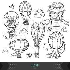 Cute Hand Drawn Hot Air Balloon Clip Art, Doodle Hot Air Balloons, Nursery Clipart, Instant Download PNG and EPS Vector Clipart by LePetiteMarket on Etsy https://www.etsy.com/uk/listing/387220202/cute-hand-drawn-hot-air-balloon-clip-art