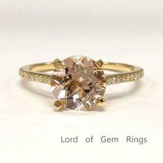 $459 Round Morganite Engagement Ring Pave Diamond Wedding 14K Yellow Gold 8mm