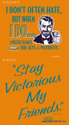 Love this ... EXPRESSLY because it ONLY identifies the TWO NFL teams my Phin Phandom drives me to hate - Pats & Jets! (Let's face it, the Bills are so bad/mediocre that it's hard to even dredge up much division rival hatred towards them ; )