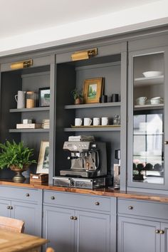 English Cottage | lark & linen Home Office Design, House Design, Cottage Design, Blue Kitchen Cabinets, Kitchen Island, Stoff Design, English Country Decor, Glass Cabinet Doors, Deco Design