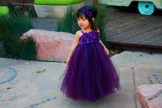 purple tutu flower girl dress