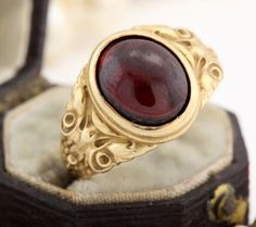 Antique C. 1860 Victorian 14k Yellow Gold Carved 2.53 Ct Bohemian Garnet Ring! in Jewelry & Watches, Vintage & Antique Jewelry, Fine, Victorian, Edwardian 1837-1910, Rings | eBay