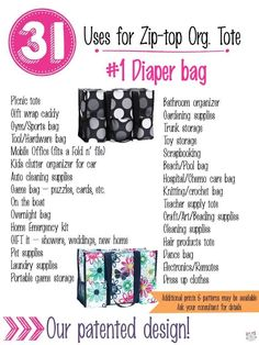 31 Uses for Thirty-One Zip-Top Organizing Utility Tote. #Carrie31Bags