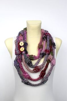 Knit Necklace Scarf - Pink Knit Loop - Knit Rope Scarf - Knit Scarf Necklace - Knit Cowl Scarf - Chunky Knit Loop - Chunky Circle Scarf