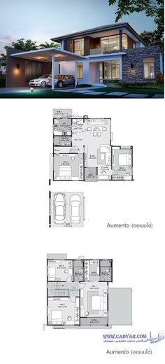 2 bedrooms on ground floor. Modern House Floor Plans, Dream House Plans, Modern House Design, Building Design, Building A House, Villa Plan, Casas Containers, Villa Design, Sims House