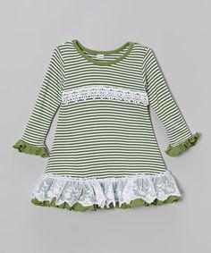 Look what I found on #zulily! Green Stripe A-Line Dress - Infant & Toddler by Toni Tierney #zulilyfinds
