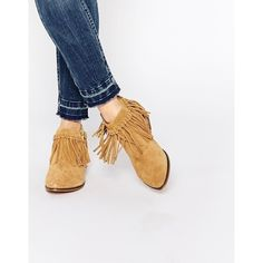 ALDO Wadia Camel Suede Tassel Western Flat Boots ($126) ❤ liked on Polyvore featuring shoes, boots, camel, side zip boots, flat boots, camel boots, suede tassel boots and suede cowgirl boots
