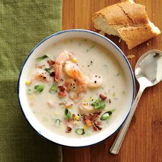 SHRIMP AND CORN CHOWDER  This comforting shrimp chowder soup is seasoned beautifully with fresh thyme, garlic, and a pinch of ground red pepper