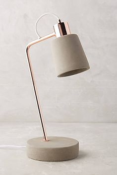 Rose Gold and Concrete Desk Lamp - Anthropologie: Fiona Task Lamp I would put one on either side of the couch!