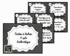 Les créations de Stéphanie : 92 cartes à tâches en arithmétique pour le 3e cycle Math 5, 4th Grade Math, Math Games, Math College, School Organisation, Fractions, Task Cards, Mathematics, Kids Learning