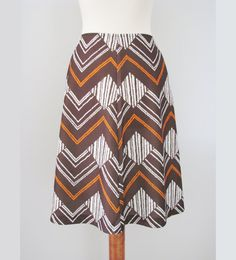 Zig Zag Skirt in Brown & Burnt Orange by Hyvon, XS-S / // Vintage Western A-line Skirt Office Chic, Almost Always, Zig Zag, Burnt Orange, Skirt Fashion, A Line Skirts, Finland, Im Not Perfect