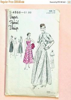 SALE 20% OFF Late 1940s Evening Gown Vogue Special Design S-4866; ca. 1948; Evening Dress and Bolero Vintage Sewing Pattern Bust 32 Vogue Sp