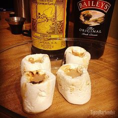 Smores Shot Glass Shot - For more delicious recipes and drinks, visit us here: www.tipsybartender.com