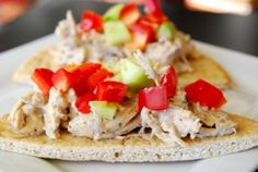 It's Crock-Pot month!  Try these Greek chicken pitas