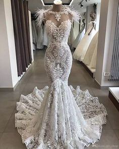 Luxury Lace Mermaid Wedding Dress With Train Robe De Mariee Sexy Open Back Pearls Feathers Wedding Gowns Vestido De Noiva Wedding Dress With Feathers, Lace Mermaid Wedding Dress, Sexy Wedding Dresses, Elegant Wedding Dress, Mermaid Dresses, Bridal Dresses, Prom Dresses, Boho Wedding, Backless Wedding