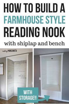 How to build a cozy DIY farmhouse style reading nook with shiplap and bench with storage!! Click through for a detailed step by step tutorial. #tutorial #DIY #readingnook