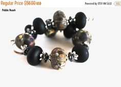 On Sale Tan and Pink Stone Lampwork Bead by #polymerclaybeads @julielcleveland