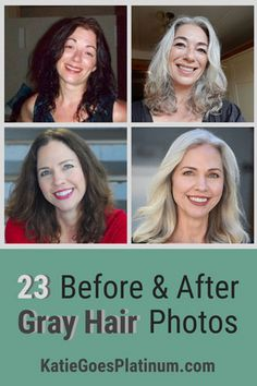 gray hair Check out these 23 photos of women before amp; after going gray and see the brightening effect that going gray has on ones complexion! Its one of the great advantages of embracing your gray hair. via katiegoesplatinum Long Gray Hair, Dark Hair, Gray Hair Women, Curly Gray Hair, Grey Hair Dye, Lilac Hair, Pastel Hair, Blue Hair, Gray Hair Growing Out