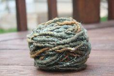 Variegated Olive Overspun Handspun Yarn $26 Kimberly Handspun Handwoven SHOP www.nywhitestonefarm.com #handmade #handspun #handdyed #yarn #wool #knit #crochet #farm #gift #dyi #green #overspun