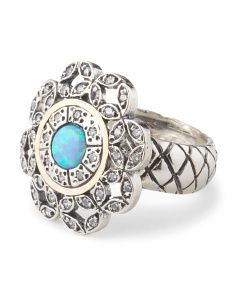 image of Made In Israel Sterling Silver 14k Gold Accent Opal Flower Ring  @tjmaxx