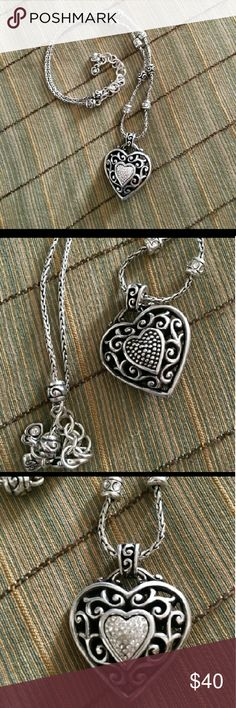 *Brighton Reno Heart Design* Very beautiful necklace has rings of rhinestones necklace with big heart charm sparkles n light Brighton Jewelry Necklaces