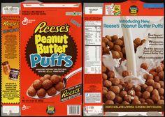 General Mills - Reese's Peanut Butter Puffs cereal box - NEW! - 1994