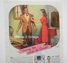 Retro Camels Magazine Advertisement / Vintage Ad/ by mamiezvintage, $9.95