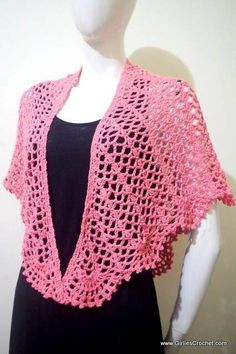 Free crochet pattern: Wendy Summer Shawl This is a free and easy crochet pattern for Wendy Summer Shawl with photo tutorial in each steps. This light and breezy summer shawl will keep you cozy warm all the the way through those cool autumn nights. Crochet Bolero Pattern, Crochet Poncho, Crochet Scarves, Crochet Clothes, Crochet Shrugs, Crochet Sweaters, Crochet Vests, Crochet Edgings, Crochet Shirt