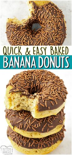 Baked Banana Donuts made with flour, cornstarch, sugar, butter, eggs & ripe bananas! Easy donut recipe covered in chocolate glaze & chocolate sprinkles that everyone loves! #bananas #donuts #breakfast #baked #baking #chocolate #easyrecipe from BUTTER WITH A SIDE OF BREAD