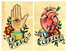 Old School Tattoo Art Print Loteria LA MANO  El CORAZON 5 x 7 Set