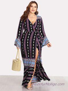 f82c86b995 Tiefer V-Ausschnitt geriffelter Ärmel Geo Print Kleid Große Größe Outfit  Ideen für den Sommer - Mode für Mollige Frauen Stil | Mode für Mollige  Frauen ...