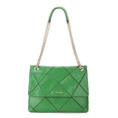Nucelle Flap Front Chain Shoulder Bag - Green [1170216-07] - $58.00