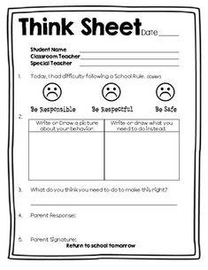Behavior Reflection Sheet Think Sheet Behavior Management, Classroom Management, Behavior Reflection Sheet, Teacher Binder, Teacher Stuff, Guided Reading, Close Reading, Think Sheet, Behavior Plans