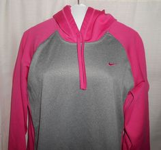 NIKE THERMA FIT Women Sz L Large Pullover Hoodie Jacket Long Slv Pink & Gray #Nike #Hoodie