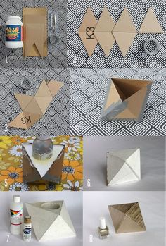 34 Cool and Modern DIY Concrete Projects - geometric concrete bookendJacot Jacot Mansfield this is a perfect DIY version DIY: Geometric Planter by A BeautifulMessRepurpose scrap fabric into Antrhopologie inspired totesGeometric concret DIY - My Backy Cement Art, Concrete Crafts, Concrete Art, Concrete Design, Diy Concrete Planters, Diy Planters, Garden Planters, Succulent Planters, Balcony Garden