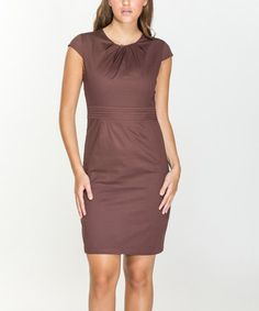 Brown Pleat-Accent Cap-Sleeve Dress #zulily #zulilyfinds