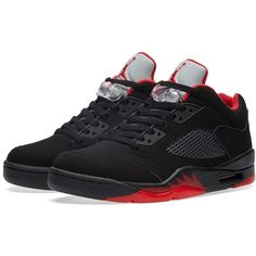 Nike Air Jordan 5 Retro Low 'Alternate' ($120) ❤ liked on Polyvore featuring men's fashion, men's shoes, men's sneakers, shoes, jordan, sneakers, men's low top shoes, mens nubuck shoes, men's low top sneakers and mens red shoes