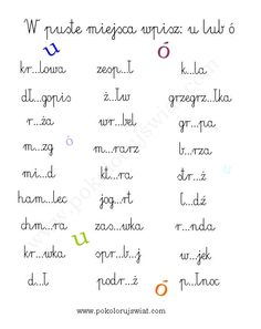 Karty pracy  Ortografia. Pisownia ó i u