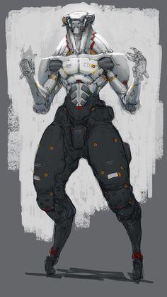 the concept art and illustration of trevor claxton Character Concept, Character Art, Arte Robot, Mekka, Robot Concept Art, Robot Design, Ex Machina, Cyberpunk Art, Sci Fi Characters