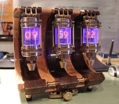 Beautiful Steampunk style Nixie clock.