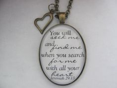Bible Verse Pendant Necklace You will seek me by RedeemedJewelry, $16.00