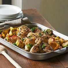 Basil Chicken with Sprouts, Squash, & Apple The trick with this recipe is to pack enough flavor into the chicken rub that it seeps into the surrounding veggies as they cook. And if things are feeling crowded on one baking pan, use two.