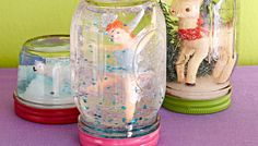 Snow Globe Jars. Great use and interesting display of all those oddsandends toy figurines I have acquired (and for some insane reason have never pitched) from three children. Could pass on to kids or even grandkids. Or just make a vignette for Xmas time.
