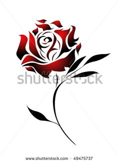 masculine red and black heart tattoo | Red Rose Tattoo Design With Path Stock Photo 49475737 : Shutterstock