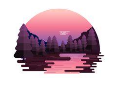 Nature Sunset Landscape by Hemanta #Design Popular #Dribbble #shots