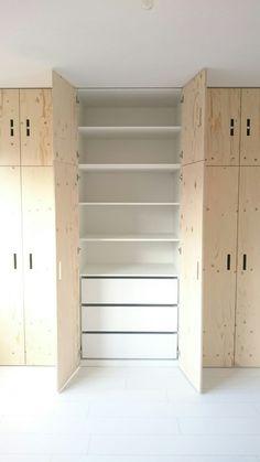 Kledingkast van underlayment by brittany Bedroom Wardrobe, Wardrobe Closet, Closet Space, Closet Doors, Home Bedroom, Closet Storage, Bedroom Storage, Ikea Pax Doors, Floor To Ceiling Cabinets