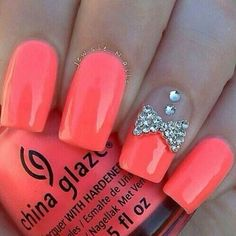 Acrylic Nails Pink Neon French Tip Nail Art With Rhinestone Bow And Diamond Designs Bows For Blunt 2015 Latest Trend Design