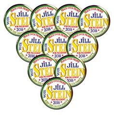 """Amazon.com: Pack-10 Peace Over Profit Jill Stein Green Party 2016 Pin-back Button, 2.25"""": Clothing"""
